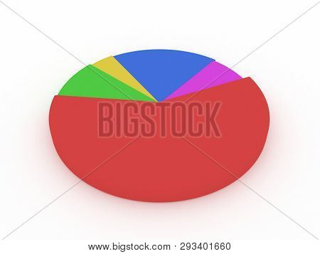 illustration of a multi-colored pie chart. 3D