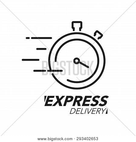 Express Delivery Icon Concept. Stop Watch Icon For Service, Order, Fast And Worldwide Shipping. Mode