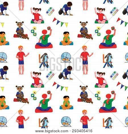 Colored Kindergarten Classroom Seamless Pattern With Preschool Kids And Furniture. Fine For Wrapping