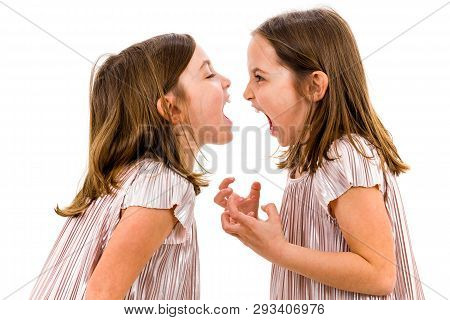 Identical Twin Girls Sisters Are Arguing Yelling At Each Other.