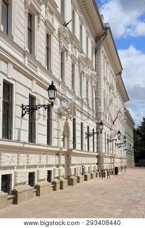 Pecs, Hungary. City in Baranya county. Pecs municipal building on Kossuth Square. poster