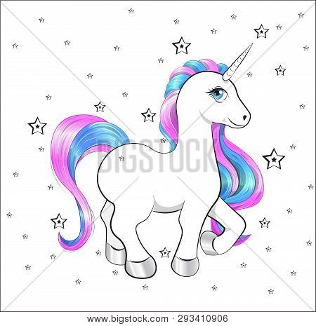 Funny Little Unicorn Pony With Pink And Blue Mane, And Stars, Unicorn Happy Birthday Card