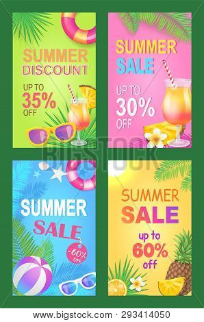 Summer Discount Reduction Posters Set Vector. Seasonal Proposition And Sales Of Lifebuoy, Sunglasses
