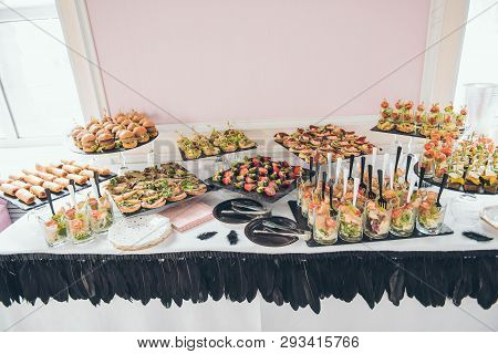 Catering Service. Catering Food. Table With Food At Event. Beautifully Decorated Catering Banquet Ta