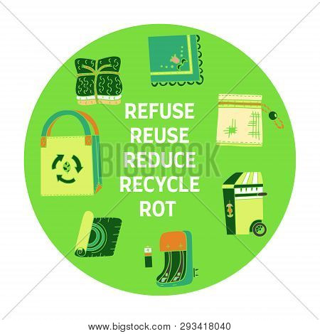 Zero Waste Doodle. Refuse Reduce Reuse Recycle Rot Text. Items From Ecoliving And Sustainable Househ