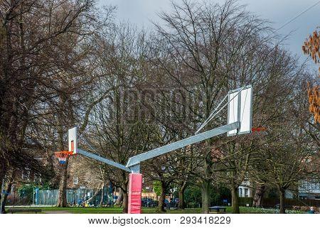Unoccupied Basketball Playground In Ravenscourt Park. London