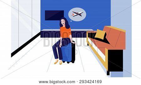 Airport Waiting Room Girl Sits On A Suitcase Vector Illustration