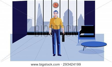 A Man Stands Alone In A Modern Office Vector Illustration