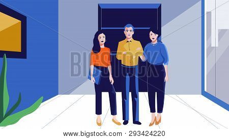 People Stand In A Modern Office Vector Illustration