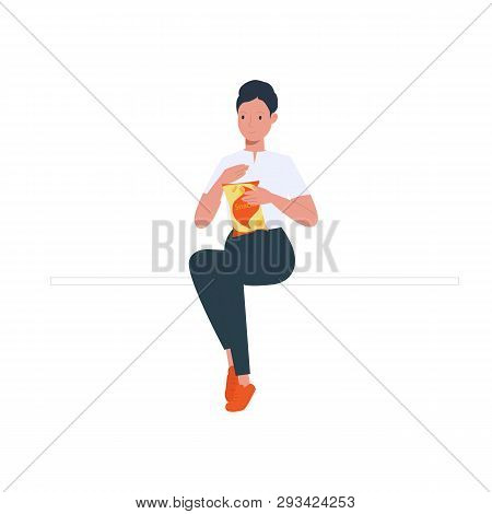 Young Woman Holding A Potato Chip Vector Illustration