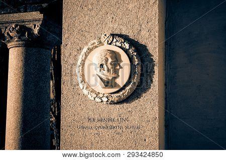 Sweden, Stockholm - January 05, 2015: Town Hall, Stockholm City Hall. Memorial Plaque Pehr Henrik Li
