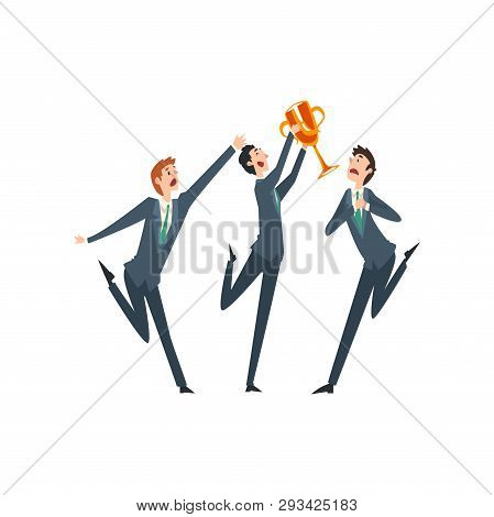 Successful Businessman With Winner Cup, Envious Colleagues Envying His Success Vector Illustration