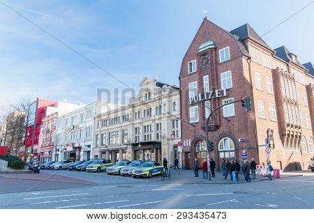 Hamburg, Germany - February 15, 2019: Polizei Office And St. Pauli Theatre.