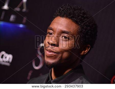LAS VEGAS - APR 02:  Chadwick Boseman arrives for the CinemaCon 2019 - STXfilms presentation