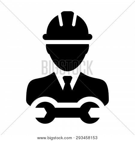 Operator Worker Icon Vector Male Construction Service Person Profile Avatar With Hardhat Helmet And