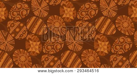 Ukraine Folk Style Easter Egg Seamless Pattern In Deep Natural Terra Cotta Brown Colors. Naive Flat