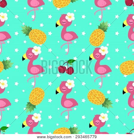 Tropical Pattern With Pink Flamingo, Pineapple And Cherry