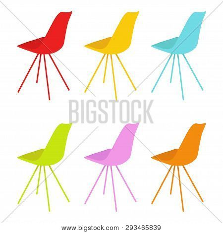 The Chairs. The Chairs Multicolored. Set Of Chairs. Furniture. White Background. Vector Illustration