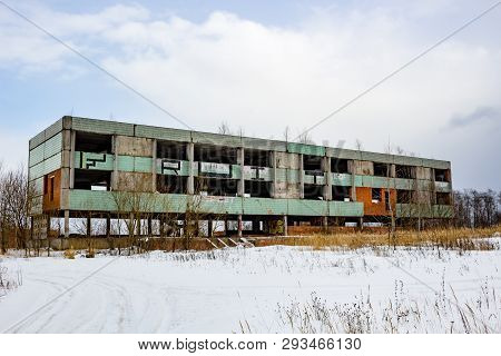 Borovsk, Russia - February 2015: Abandoned Unfinished Building