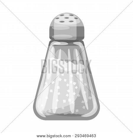 Vector Design Of Saltcellar  And Seasoning Logo. Set Of Saltcellar  And Glass  Stock Symbol For Web.