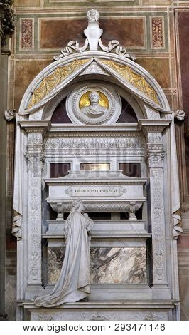 FLORENCE, ITALY - JANUARY 10, 2019: Tomb of Leonardo Bruni Italian humanist, historian and statesman, Funerary monument, Basilica of Santa Croce (Basilica of the Holy Cross) in Florence, Italy