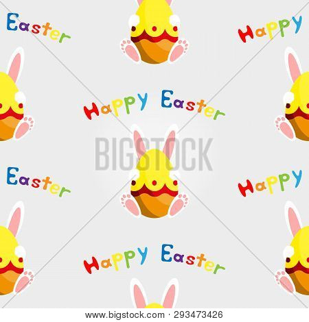 Easter Bunny With Egg. Seamless Vector Illustration.