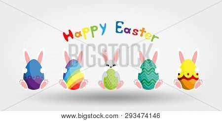 Easter Bunny With Egg. Icon. Vector Illustration. Flat Design