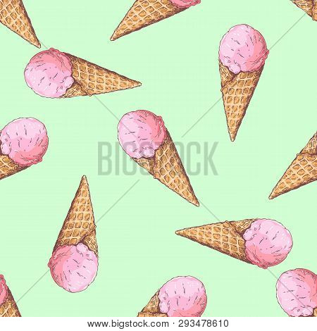 Pattern Of Ice Cream In A Waffle Cone In The Doodle Style.