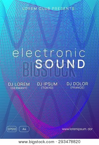 Dj flyer. Dynamic gradient shape and line. Cool concert invitation template. Neon dj flyer. Electro dance music. Electronic sound event. Club fest poster. Techno trance party. poster