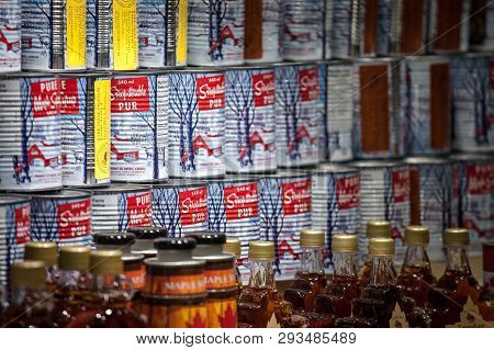 Montreal, Canada - November 9, 2018: Maple Syrup Metal Can For Sale On Montreal Jean Talon Market. Q