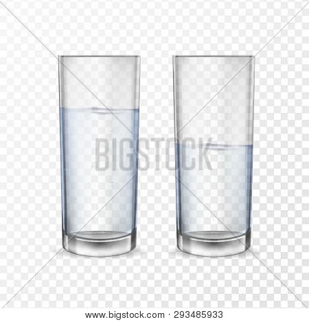 Realistic Glasses For Drinks With Water Cups Set. 3d Transparent Dishes For Water Juice, Bar Drinks