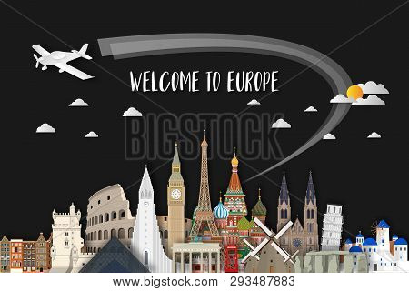 Europe Famous Landmark Paper Art. Global Travel And Journey Infographic. Vector Flat Design Template