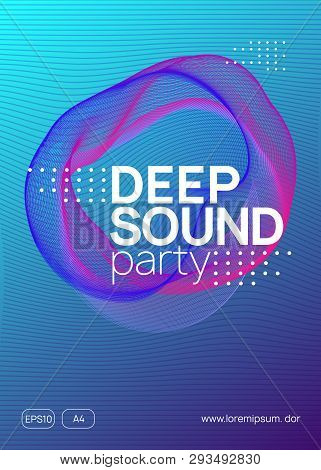 Dance Flyer. Wavy Show Cover Design. Dynamic Gradient Shape And Line. Neon Dance Flyer. Electro Tran