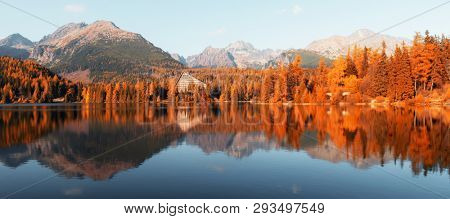 Panorama of mountain lake Strbske pleso (Strbske lake) in autumn time, Slovakia