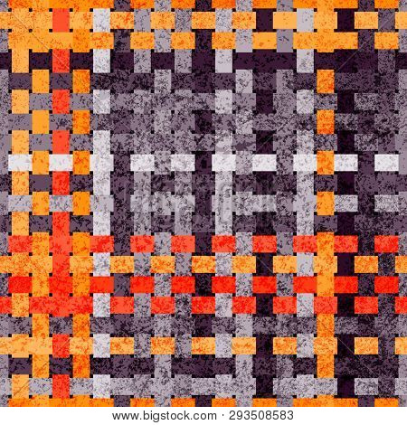 Wicker Seamless Background. Geometric Abstraction. Orange And Gray Shades.