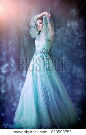 A full length portrait of a mysterious lady in a fluffy dress posing indoor. Fairy tale, fashion.