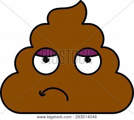 Bored, Tired Dung Emoji Vector Illustration. Upset, Weary Emoticon. Emotion, Feeling Cartoon Sticker