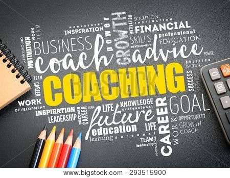 Coaching Word Cloud On The Desk, Business Concept Background