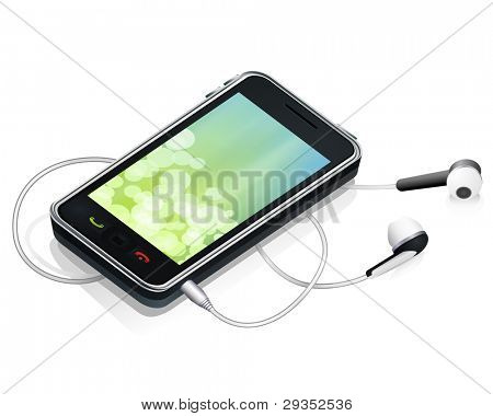vector realistic smart phone with earphones