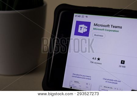 Bekasi, West Java, Indonesia. April 5, 2019 : Microsoft Teams Dev Application On Smartphone Screen.
