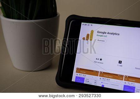 Bekasi, West Java, Indonesia. April 5, 2019 : Google Analytics Dev Application On Smartphone Screen.