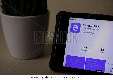 Bekasi, West Java, Indonesia. April 5, 2019 : Microsoft Edge Dev Application On Smartphone Screen. E