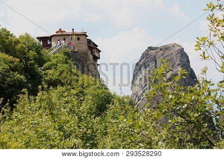 Monastery Of Rousanou (st. Barbara) In Meteora Rock Formation Kalambaka Greece