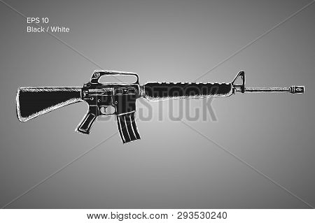 Assault Rifle Sketch. Classic Armament Vector Illustration. Pencil Style Drawing