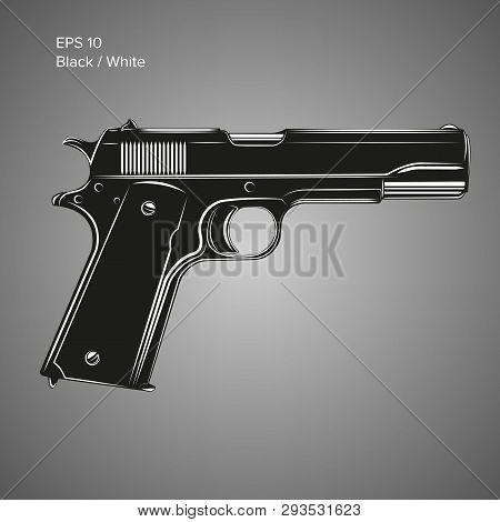 Classic 9mm Pistol Vector Illustration. Legendary Armament.