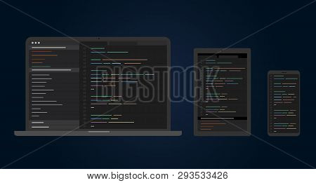 Developers Use Software On Cross-platform And Multiple Devices. Cross Platform Software, Multi-devic