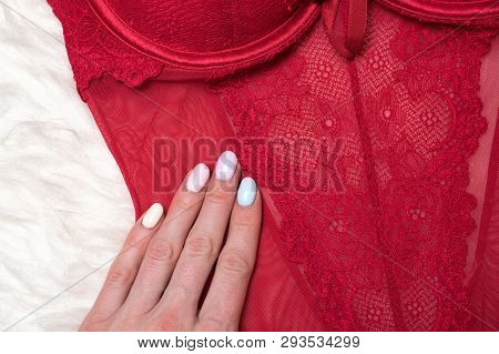 Details Of Red Lace Body With Female Hand. Fashion Lingerie Concept