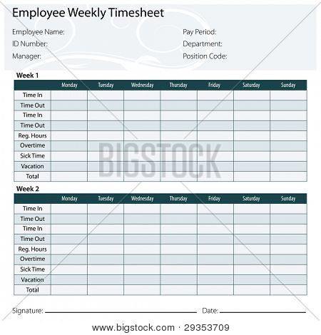 An image of a employee timesheet template.