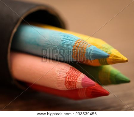 This Is A Close Up O Color Pencil In A Box
