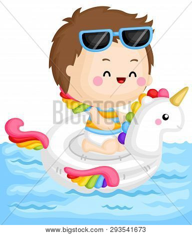 A Vector Of Cute Little Boy Sitting On Top Of Unicorn Float At The Pool
